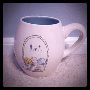 Rae Dunn HUNT Easter egg basket mug w blue inside